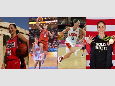 Sue Bird in 2004, 2008. 2012 and 2016