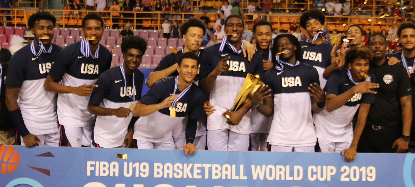 2019 USA Basketball Men's U19 World Cup Team with gold medals