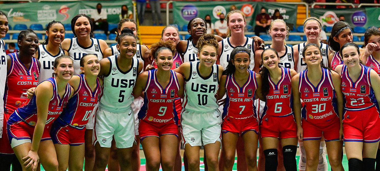 The 2021 USA & Costa Rica U16 women's teams pose for a photo after the game.