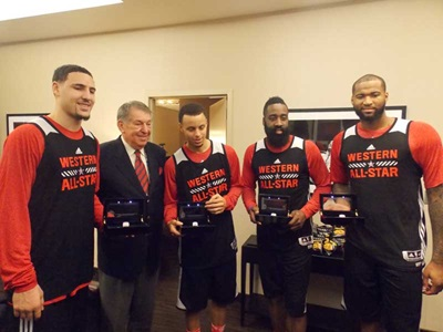 Klay Thompson, Jerry Colangelo, Steph Curry, James Harden and DeMarcus Cousins