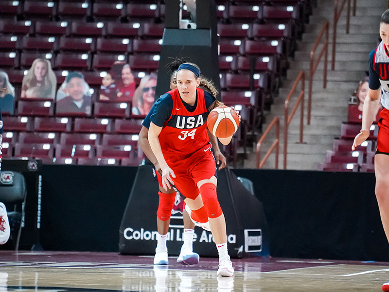 After a steal Sydney Wiese sprints up the courtjpg