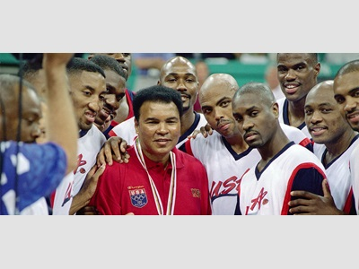 1996 U.S. Olympic Men's Basketball Team With Ali