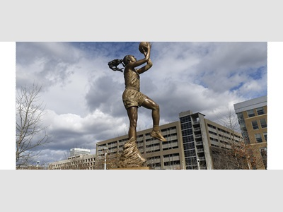A'ja Wilson's statue in front of Colonial Life Arena.
