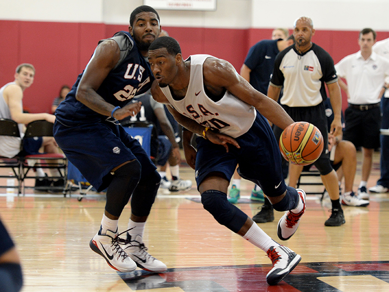 John Wall drives on Kyrie Irving