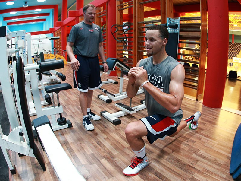 Stephen Curry hits the weight room after practice.