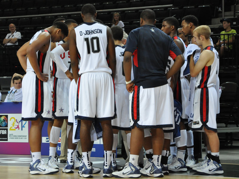 2012 Men's u17 team huddle