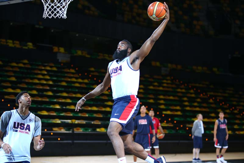 James Harden attacks the basket during the USA's practice on Aug. 29, 2014.