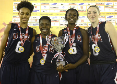 USA Women's U18 3x3 team celebrates winning gold.