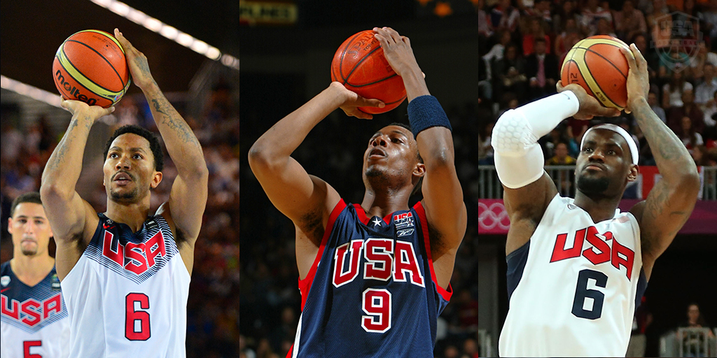 Derrick Rose, Paul Pierce and LeBron James