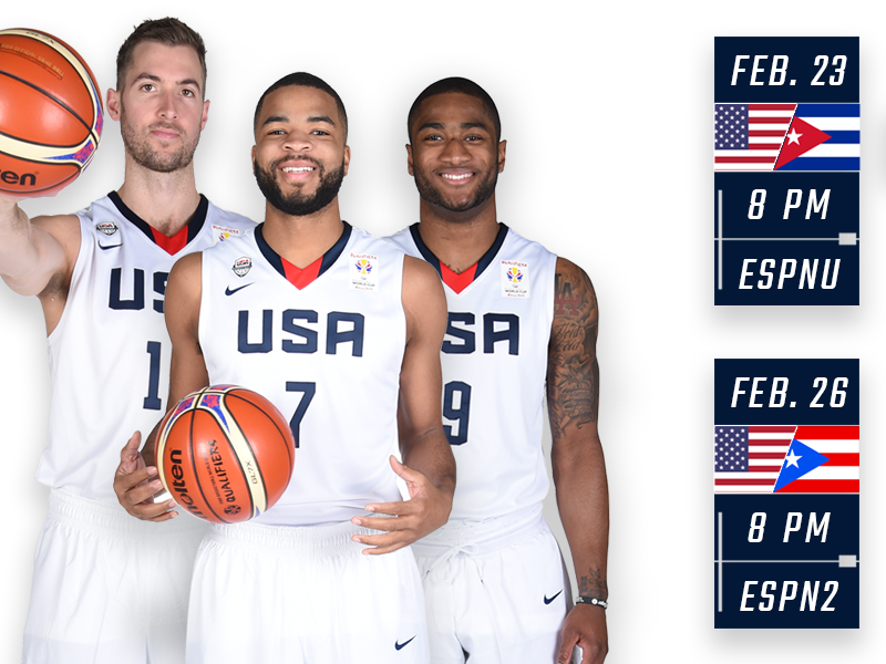 35d44753d60f ESPN to Showcase Two USA FIBA Basketball World Cup Qualifier Games in  February