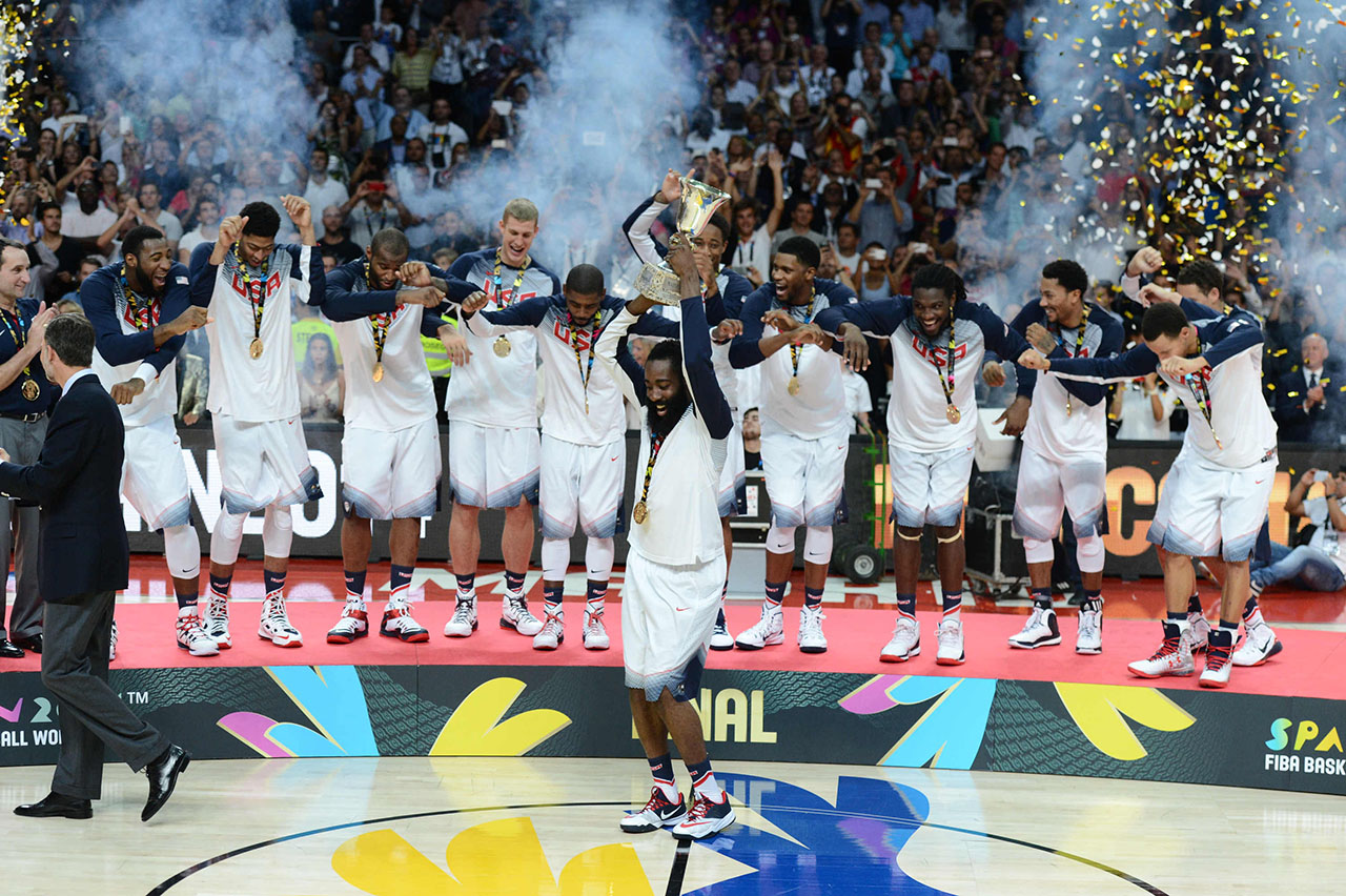 The USA MNT celebrates FIBA Gold.