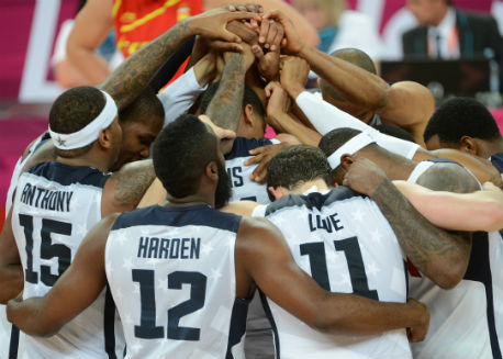 The USA Men's National Team huddles after winning gold in 2012.