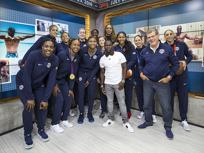 On the morning of the game, the USA team appeared on Good Morning America right after Kevin Hart's GMA appearance.
