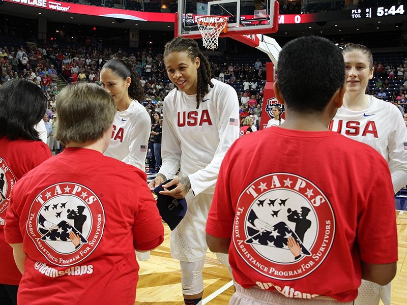 Anthem buddies tonight were from TAPS, the Tragedy Assistance Program for Survivors, and the kids exchanged pins for USA Basketball coins from the USA National Team.