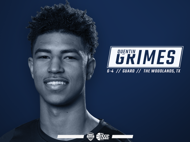 Quentin Grimes Named To The 2018 Usa Nike Hoop Summit Team