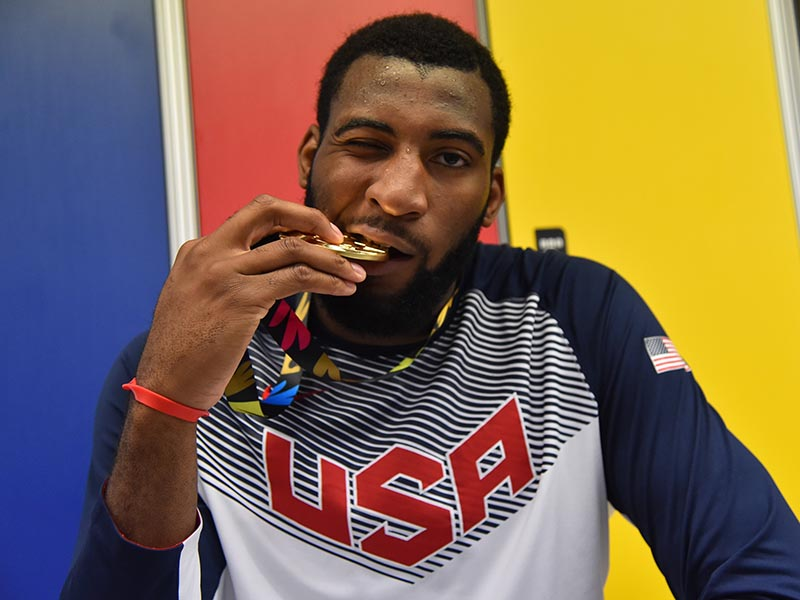 Andre Drummond celebrates winning Gold!