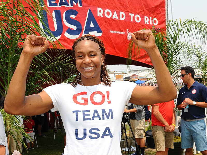 Tamika Catchings took part in the U.S. Olympic Committee's official 2016 U.S. Olympic Team announcement July 23 at Venice Beach, California.