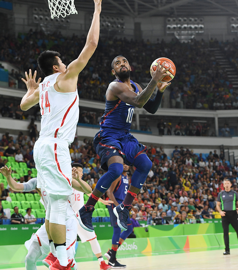Kyrie Irving had 12 points and five assists in his Olympic debut.