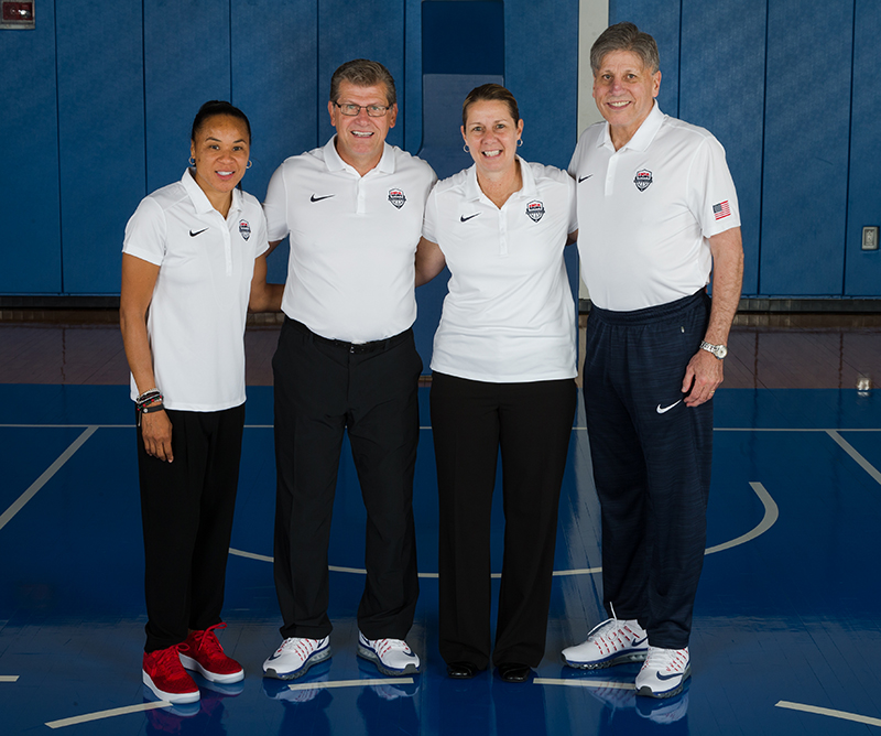 The 2016 U.S. Olympic Women's Basketball Team coaching staff: Dawn Staley, Geno Auriemma, Cheryl Reeve and Doug Bruno.