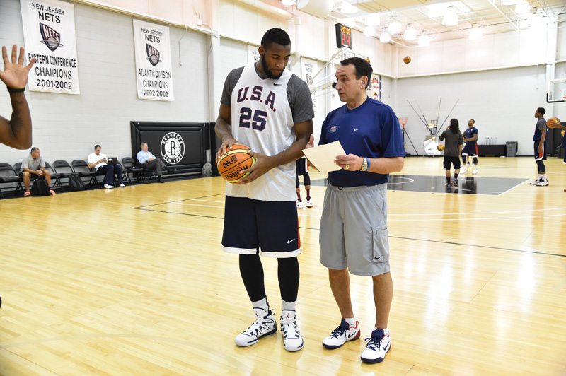Coach K and Andre Rummond