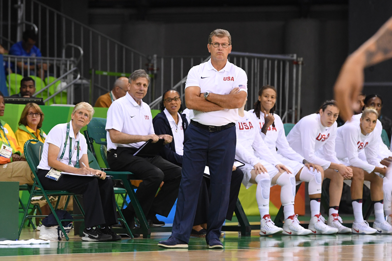 Head coach Geno Auriemma and his staff look on as the USA women improve to 3-0.