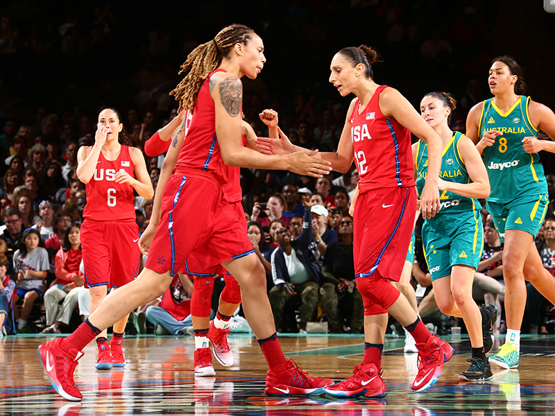 WNBA teammates Brittney Griner and Diana Taurasi get each other pumped up.