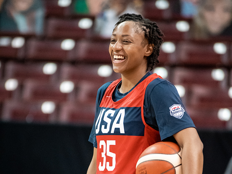 Kelsey Mitchell is happy to be back with the USA.