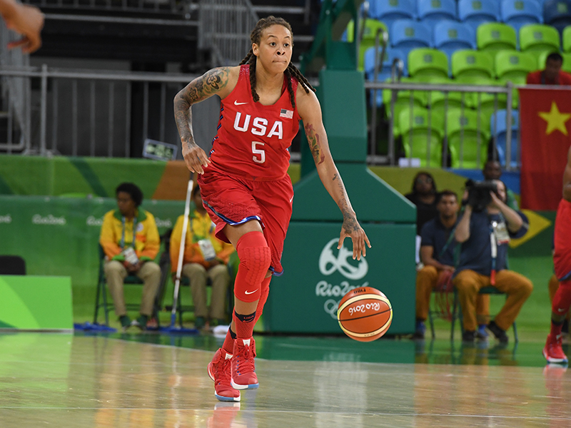 Playing in her 100th game in a USA Basketball jersey, Seimone Augustus had 10 points and five assists.