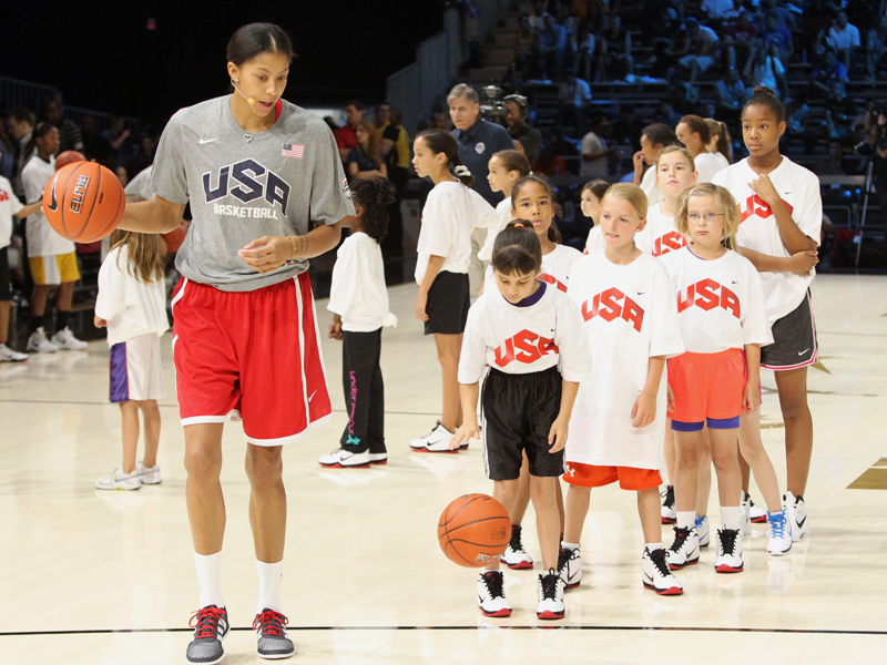 Candace Parker leads a drill during a Hoops For Troops youth clinic