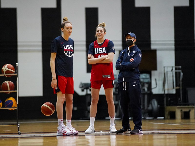 Breanna Stewart (left to right) Katie Lou Samuelson and court coach Lisa Boyer.