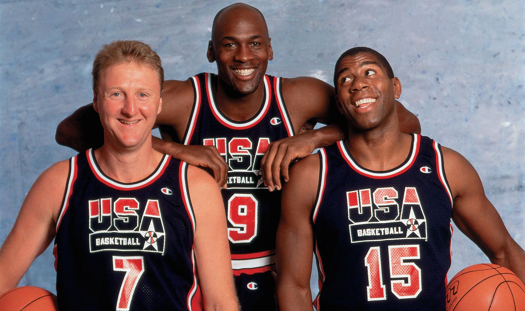 Larry Bird, Michael Jordan, Magic Johnson