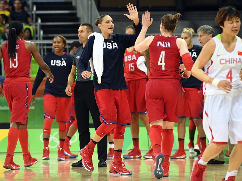 For the second time at the 2016 Olympics, the USA team set a new mark for assists, this time with 40 against China.