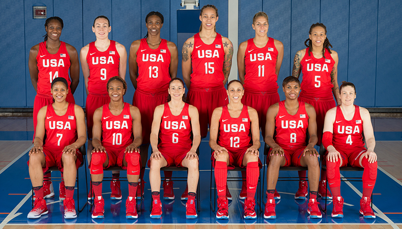 The 12-member, 2016 U.S. Olympic Women's Basketball Team.