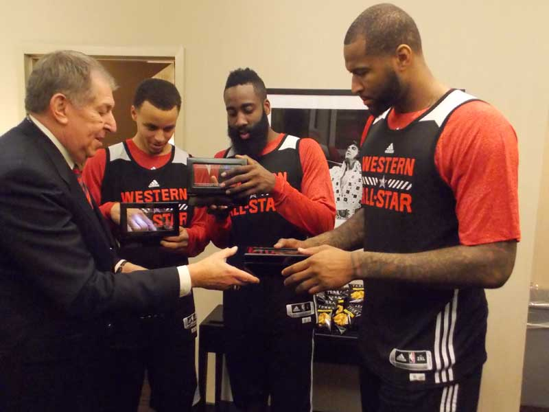 Stephen Curry, James Harden and DeMarcus Cousins check out their rings