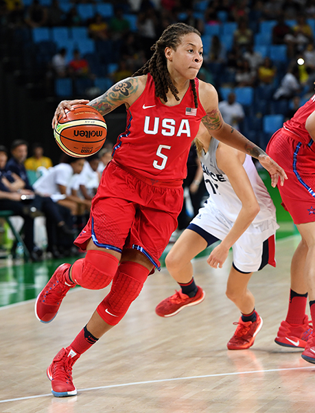 Seimone Augustus got her first Olympic starting nod and tossed in 10 points and contributed six boards and three assists.