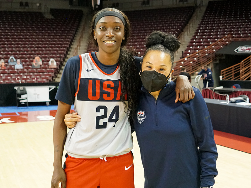 Newcomer Kahleah Copper and USA head coach Dawn Staley proudly represent Philly.