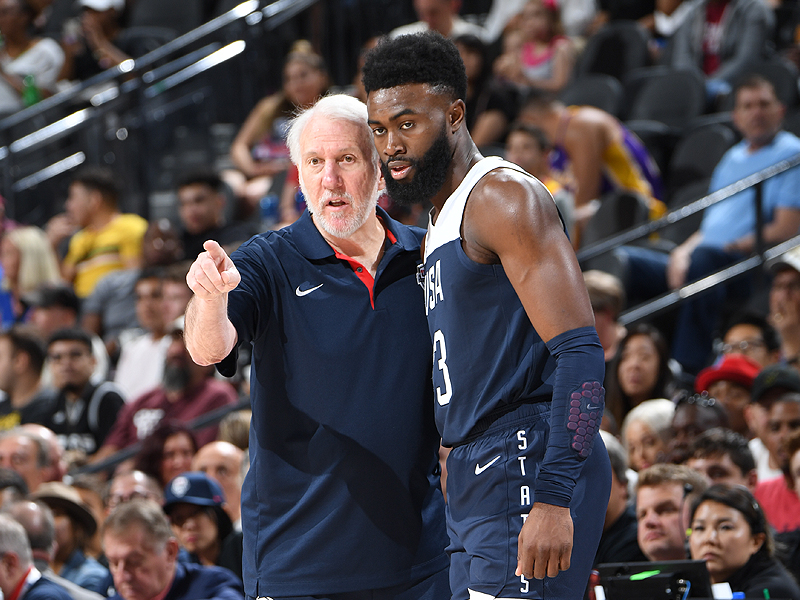 Gregg Popovich and Jaylen Brown