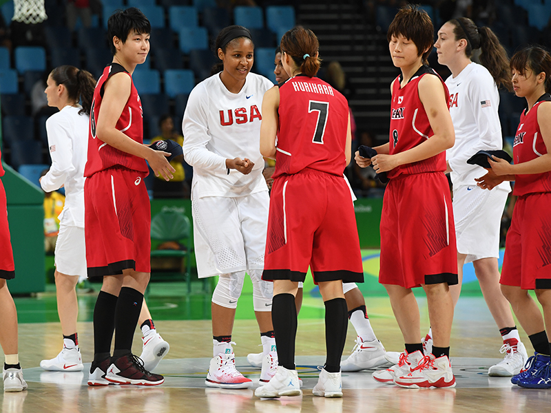 In international basketball, both teams exchange gifts at the beginning of the game.