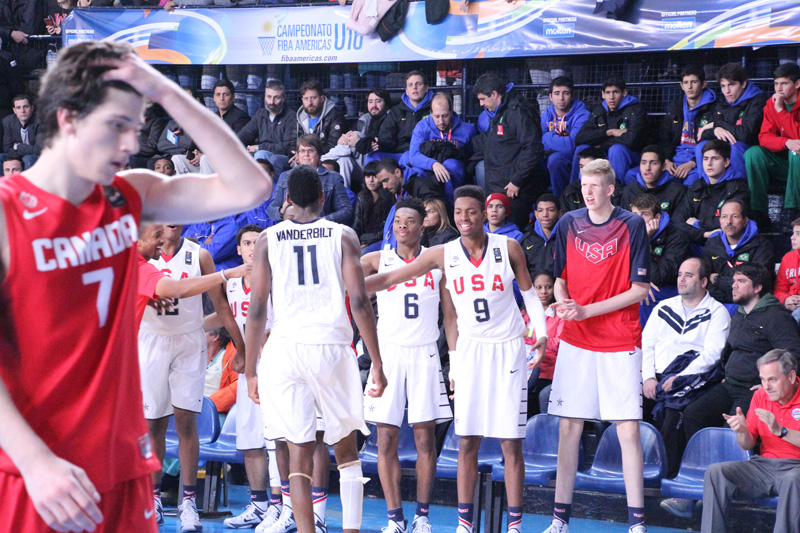 The USA U16 bench gets fired up.