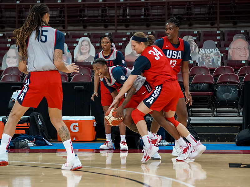 Jewell Loyd (with the ball) is the USA's first athlete to capture a gold medal at both the FIBA 3x3 World Cup and five-on-five World Cup.