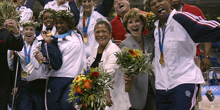 C. Vivian Stringer celebrates the 2004 U.S. Olympic gold medal finish