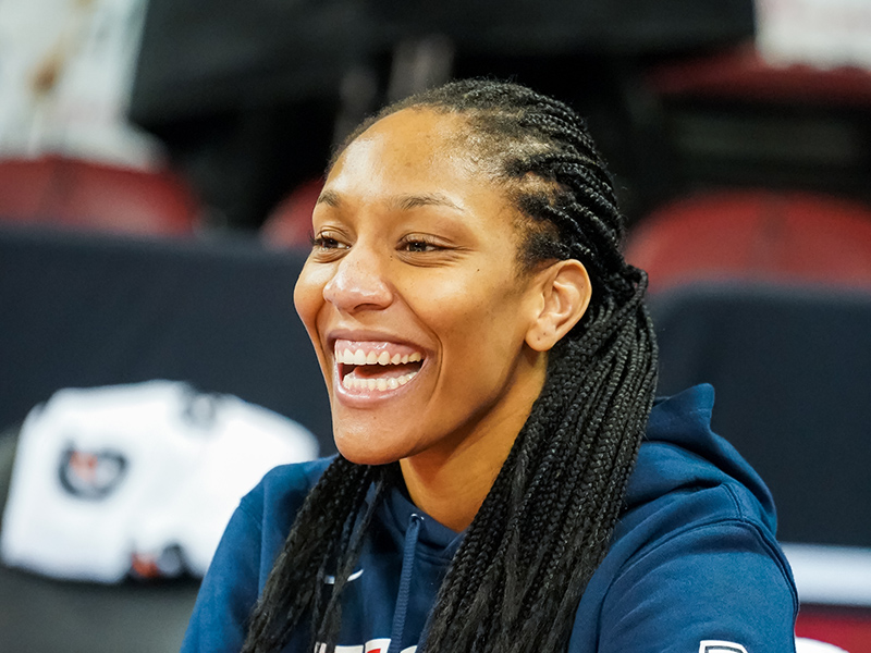 Aja Wilson is all smiles about being back in South Carolina.