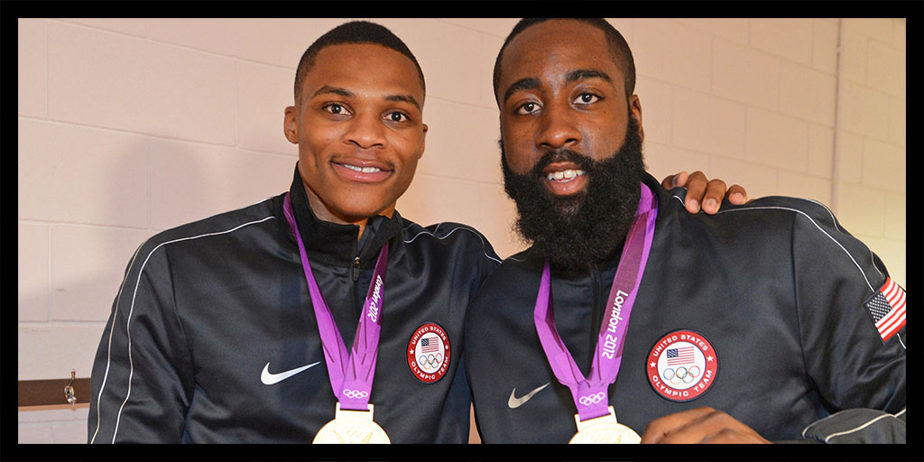 Russell Westbrook and James Harden with their gold medals.