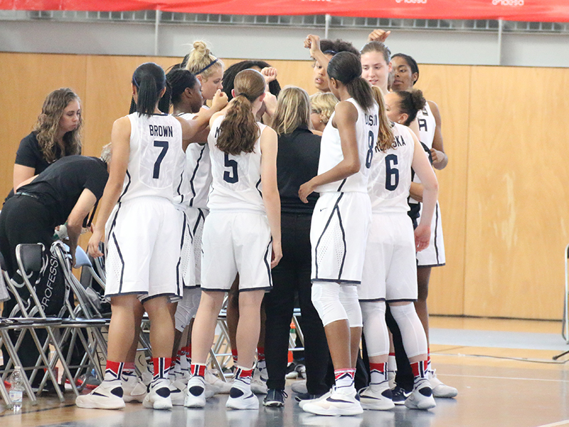 The USA U17 World Championship Team huddles up prior to the start of the game.