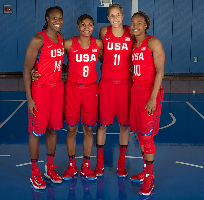 WNBA Eastern Conference players Tina Charles (Liberty), Angel McCoughtry (Dream), Elena Delle Donne (Sky) and Tamika Catchings (Fever).