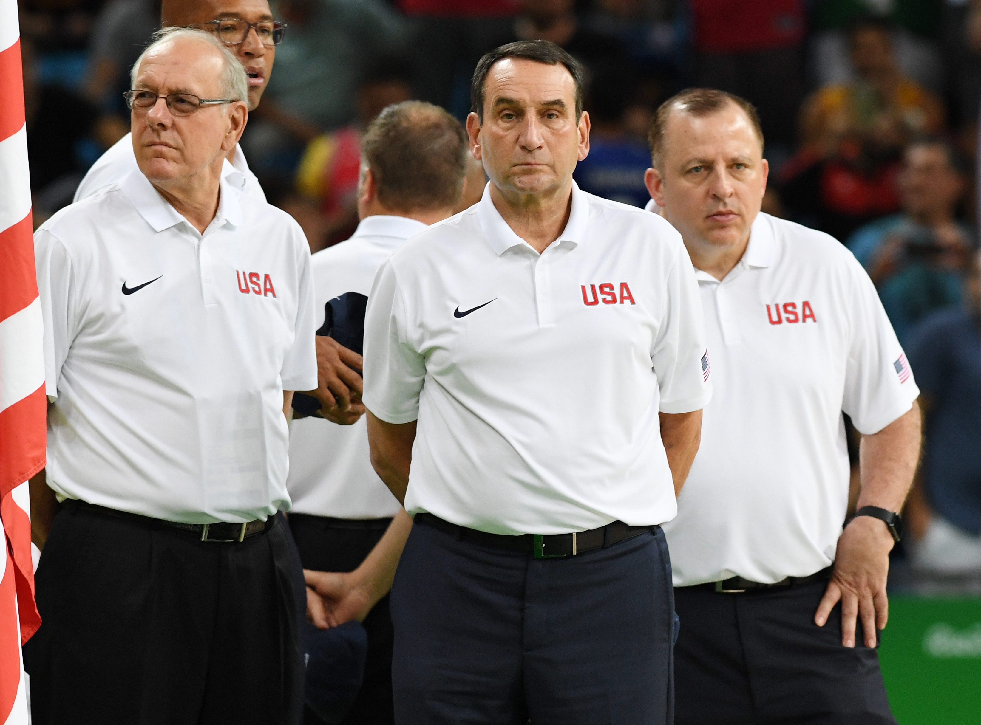 The USA coaching staff prior to the game against Venezuela.