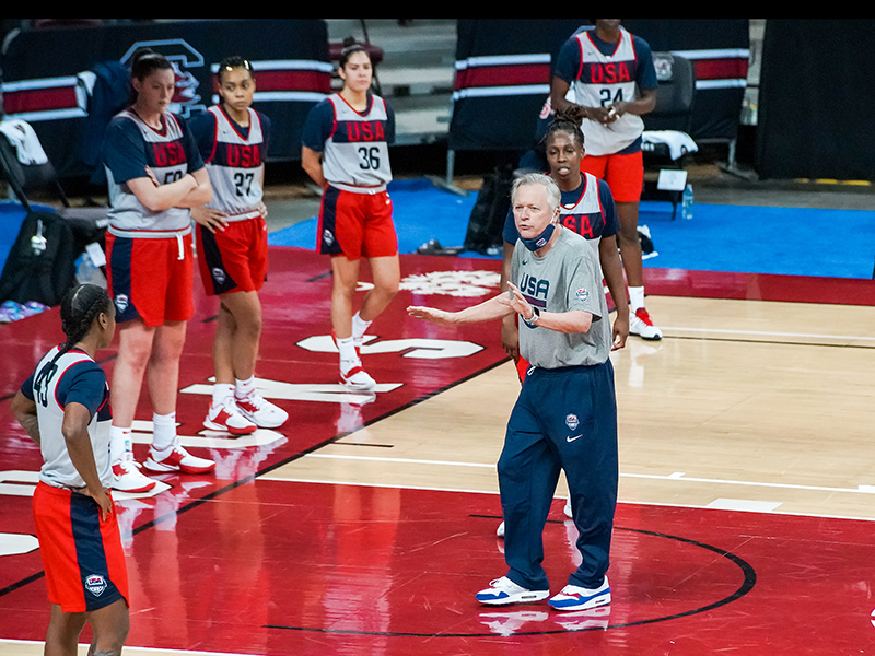 The USA's Feb. 4, 2021, practice marked the first time for Dan Hughes on a court in almost a year.