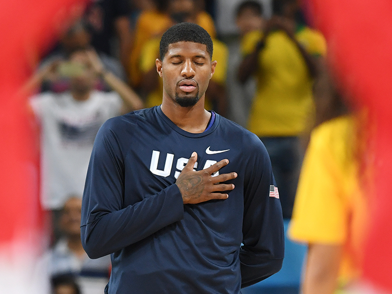 Paul George during the national anthem.