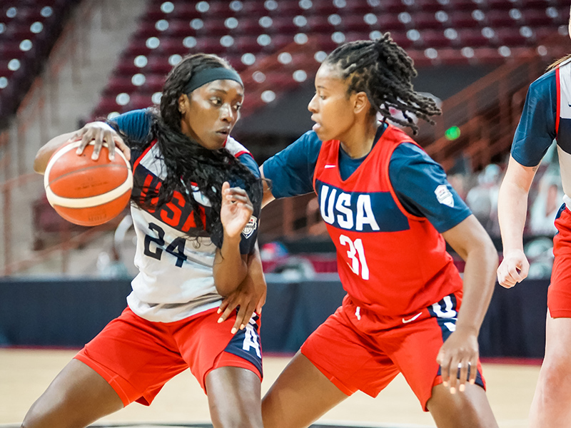 Kahleah Copper, guarded by Ariel Atkins, is participating in her first USA Basketball camp.