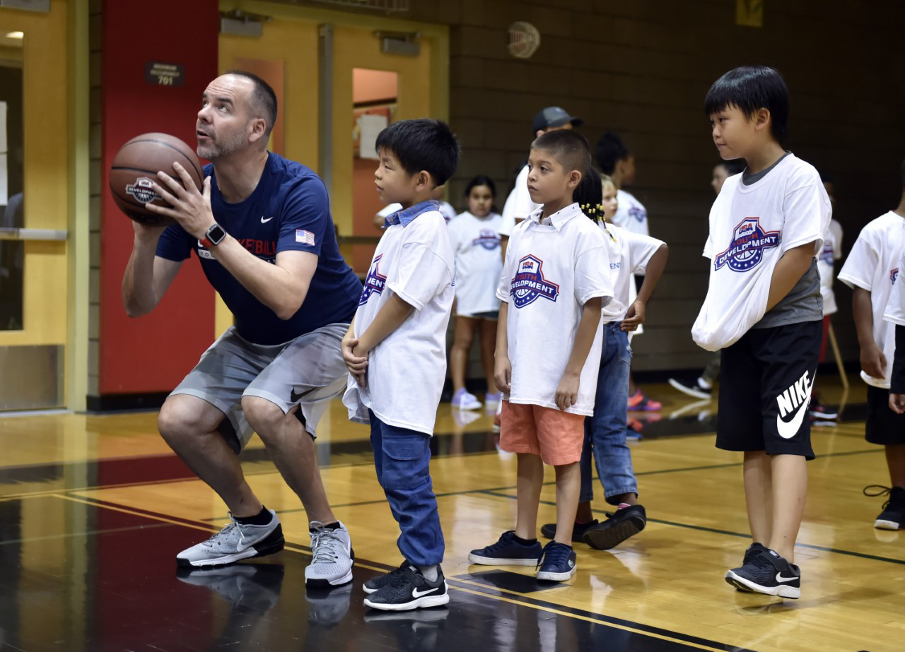 basketball coach instructing campers